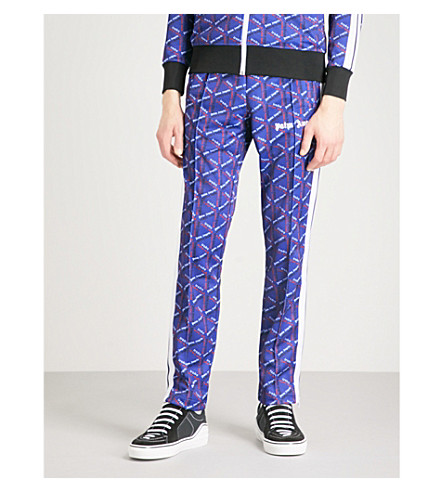 PALM ANGELS Logo-print shell jogging bottoms (Blue+multi