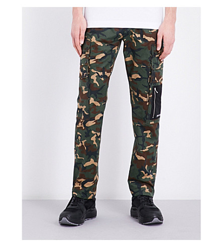 PALM ANGELS Camouflage cotton jogging bottoms (Silver