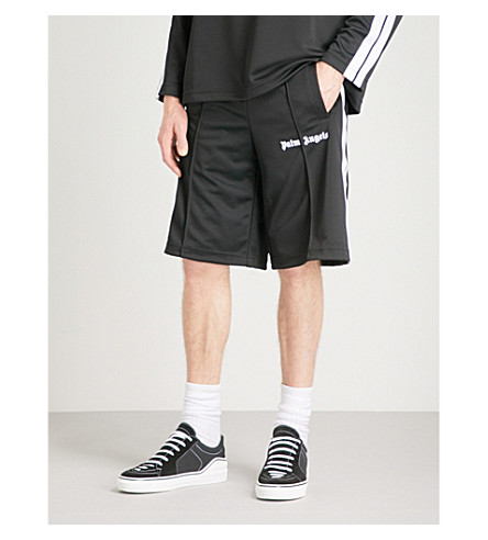 PALM ANGELS Side-stripe shell shorts (Black+white