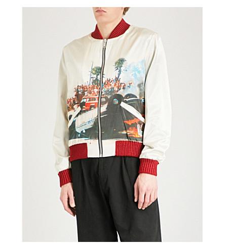 PALM ANGELS Riot satin bomber jacket (Off+white+multi