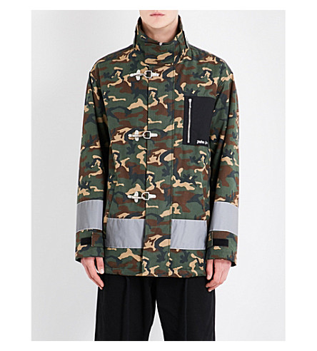 PALM ANGELS Stand-collar camouflage-print cotton jacket (Silver
