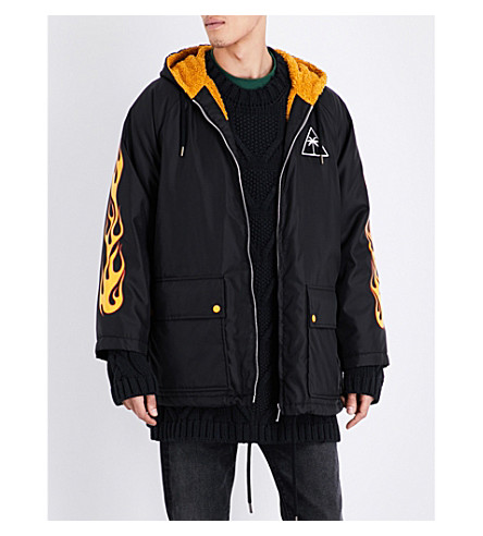 PALM ANGELS Palms and flames quilted shell jacket (Black+multicolour