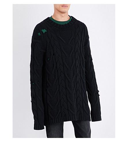 PALM ANGELS Oversized cotton-blend fisherman jumper (Black