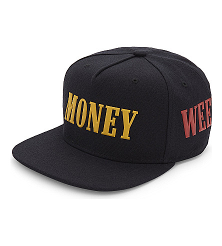 PALM ANGELS Palm Money Weed wool snapback cap (Black