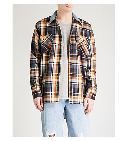FEAR OF GOD Fifth Collection oversized denim shirt (Purple+plaid