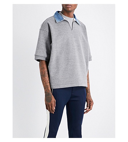 FEAR OF GOD Fifth Collection denim-collar short-sleeved cotton-jersey sweatshirt (Heather+grey/denim