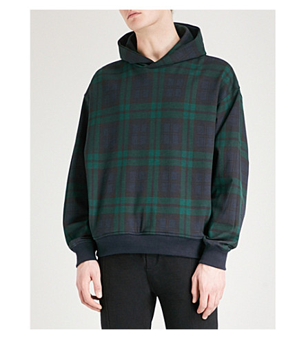 FEAR OF GOD Heavy Terry Everyday cotton-blend hoody (Green+plaid