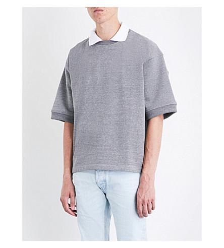 FEAR OF GOD Short-sleeved cotton-blend sweatshirt (Heather+grey