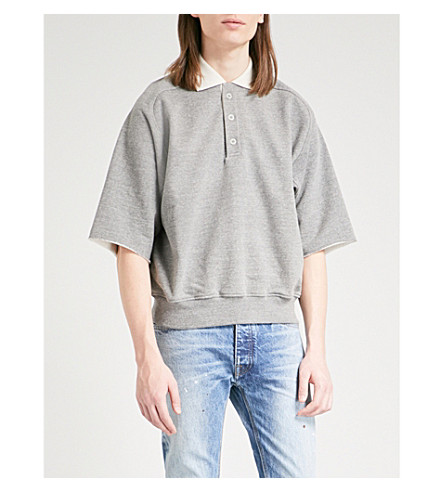 FEAR OF GOD Oversized distressed cotton-blend polo shirt (Heather+grey+cream