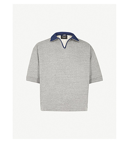 FEAR OF GOD V-neck cotton-blend sweatshirt (Heather+grey+navy