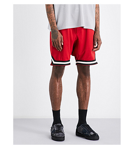 FEAR OF GOD Fifth Collection dropped-crotch mesh shorts (Red