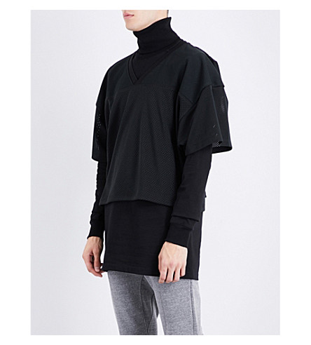 FEAR OF GOD Fifth Collection logo-patch mesh top (Black
