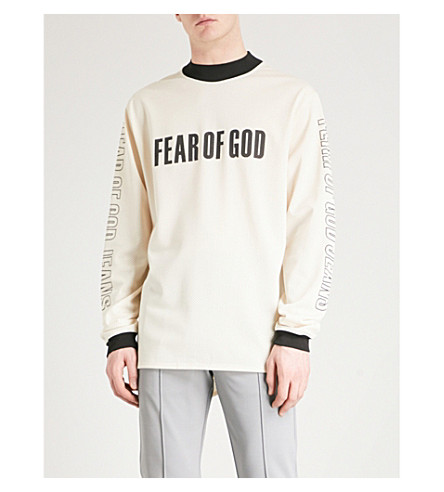 FEAR OF GOD Fifth Collection logo-print mesh top (Sand+print