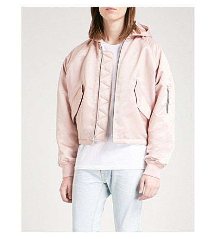 FEAR OF GOD Hooded satin bomber jacket (Blush