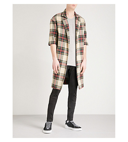 FEAR OF GOD Fifth collection pinstripe wool overcoat (Cream+plaid