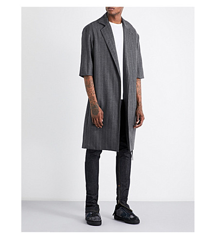 FEAR OF GOD Fifth collection pinstripe wool overcoat (Grey+stripe