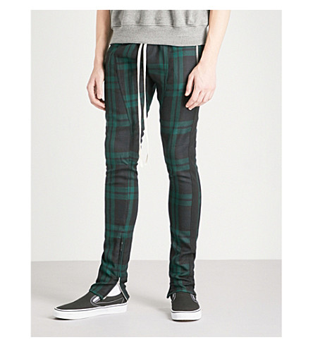 FEAR OF GOD Checked slim-fit skinny wool trousers (Green+plaid