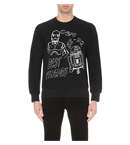 STAR WARS FORCE FOR CHANGE Claire Barrow C3PO & R2D2 cotton-jersey sweatshirt (Black