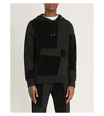 CHRISTOPHER RAEBURN Textured panel cotton-jersey hoody (Black
