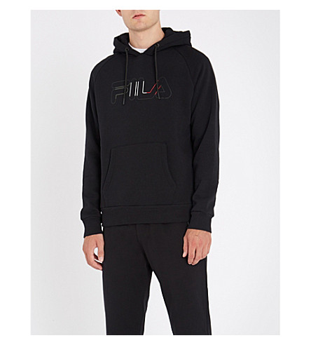 FILA Logo-embroidered cotton-blend hoody (Black