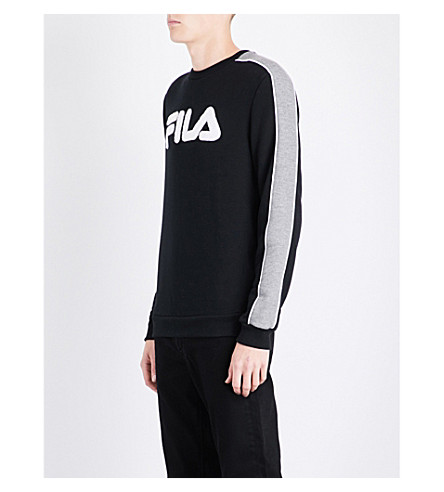 FILA Striped-sleeve logo-embroidered cotton-blend sweatshirt (Black