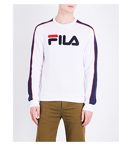 FILA Striped-sleeve logo-embroidered cotton-blend sweatshirt (White