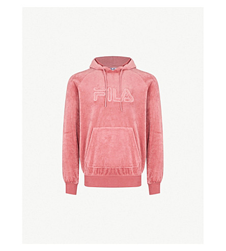 FILA Logo-embroidered cotton-blend hoody (Dusty+pink
