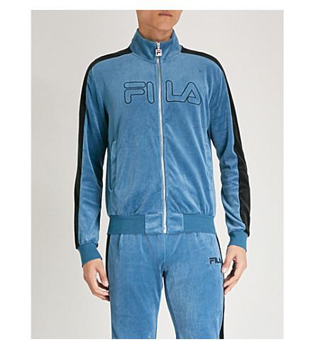 FILA Logo-embroidered cotton-blend zip-up jacket (Blue
