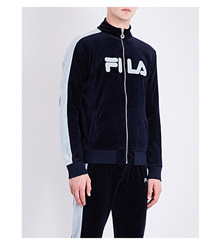 FILA Logo-embroidered cotton-blend zip-up jacket (Peacoat