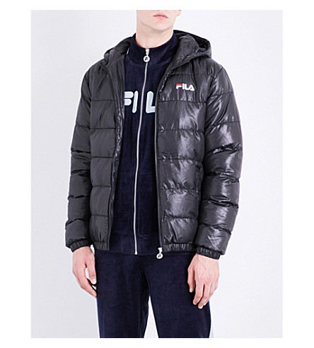 FILA Hooded shell puffer jacket (Black