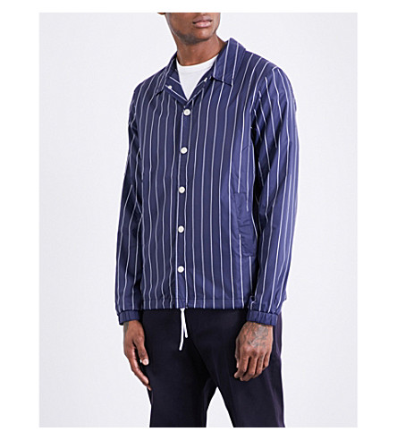 FILA Pinstripe shell coach jacket (Peacoat