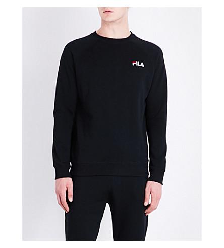 FILA Logo-embroidered cotton-blend sweatshirt (Black