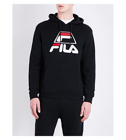 FILA Logo-detail cotton-blend hoody (Black