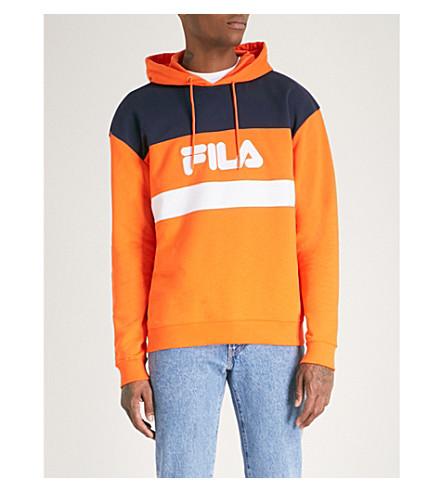 FILA Logo-print cotton-blend hoody (Golden+poppy