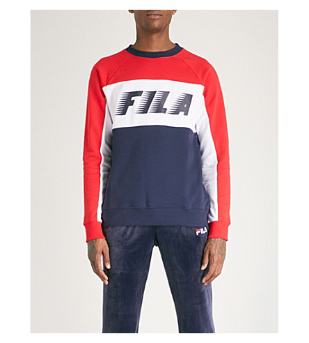 FILA Logo-print cotton-blend sweatshirt (Peacoat
