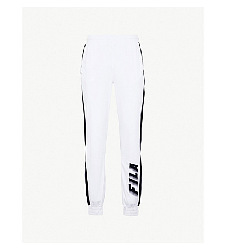 FILA Logo-print velvet jogging bottoms (Peacoat