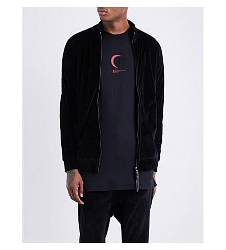 11 BY BORIS BIDJAN SABERI Funnel-neck velour jacket (Black