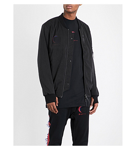 11 BY BORIS BIDJAN SABERI Printed shell bomber jacket (Black