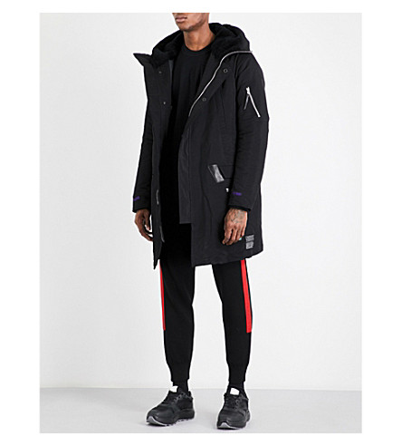11 BY BORIS BIDJAN SABERI Hooded quilted parka coat (Black