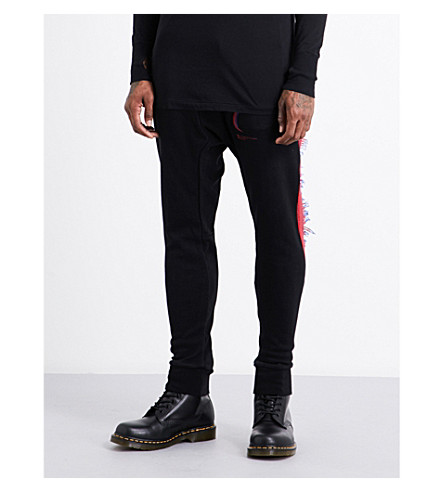 11 BY BORIS BIDJAN SABERI Fringed contrast-trim high-rise cotton jogging bottoms (Black+dye