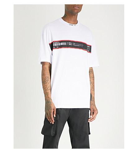 LETASCA Barcode-print cotton-jersey T-shirt (White