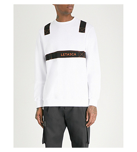LETASCA Harness-trimmed cotton-jersey sweatshirt (White
