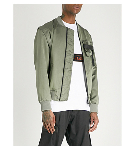 LETASCA Pocketed shell bomber jacket (Green