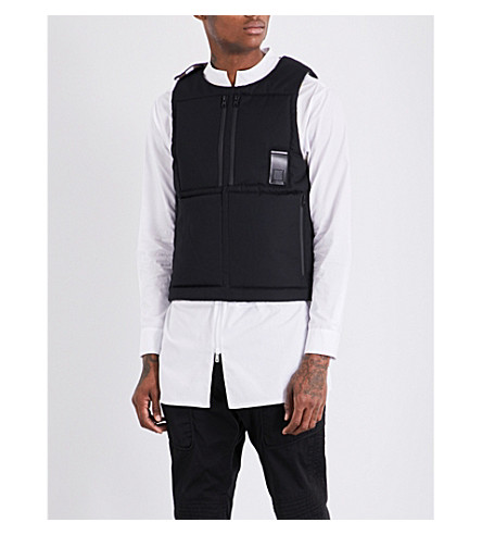 LETASCA Reversible quilted shell gilet (Black+spray+paint