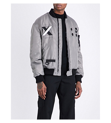 LETASCA Oversized satin bomber jacket (Brown+white