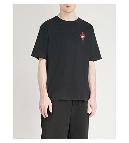 UNRAVEL Printed cotton-jersey T-shirt (Black+multicolour