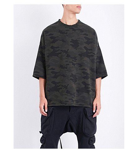 UNRAVEL Oversized camouflage cotton-jersey sweatshirt (All+over+no+colour