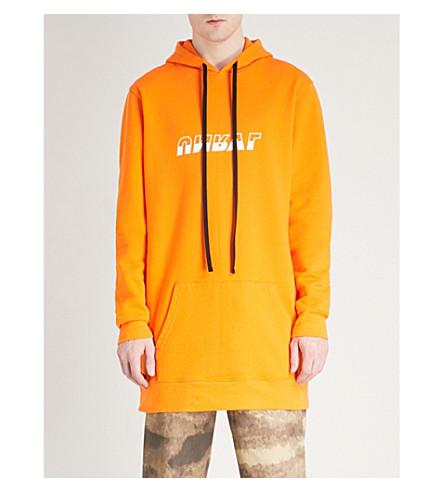 UNRAVEL Longline cotton-jersey hoody (Orange+white