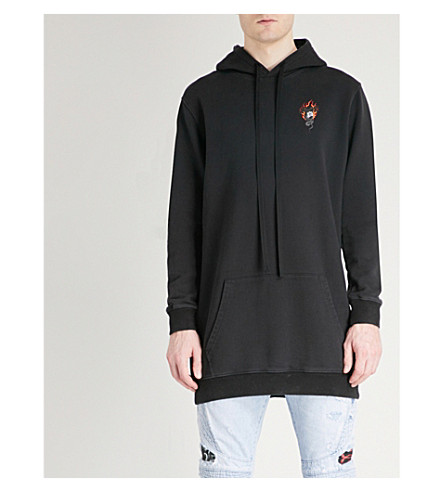 UNRAVEL Logo-print longline cotton-jersey hoody (Black+multicolour