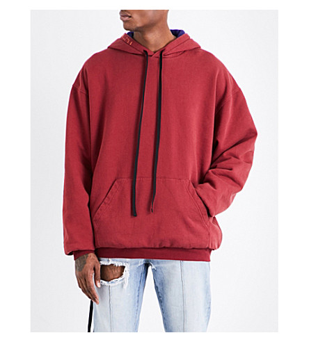 UNRAVEL Brush Reverse cotton-jersey hoody (Burgundy